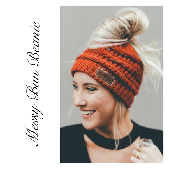 a14a7752f4968 ✨RESTOCKED✨Rust Messy Bun Cable Knit Beanie